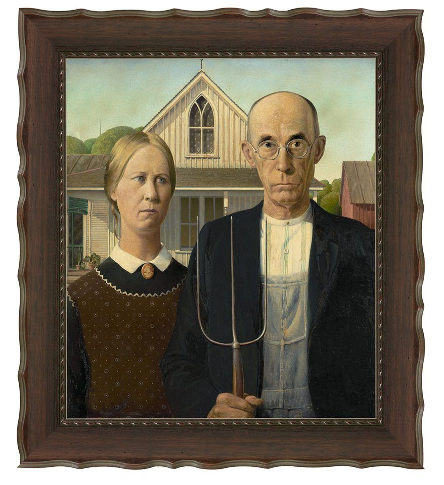 Happy Birthday To American Painter Grant Wood Born On This Day In 1891 His American Gothi Grant Wood American Gothic American Gothic American Gothic Painting
