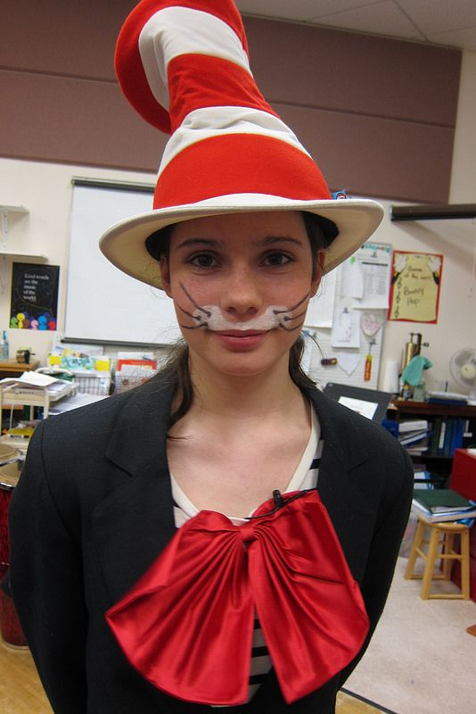 Seussical, Jr. Costumes-- my Cat in the Hat costume, closeup on makeup