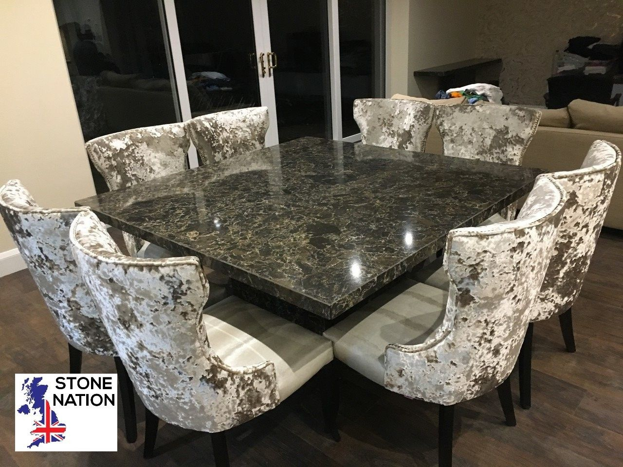 Miraculous Cambria Quartz 1600Mm Square Dining Table Complemented By 8 Gmtry Best Dining Table And Chair Ideas Images Gmtryco