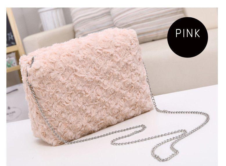Women Rose Petal Chain Flap Bag Flower Faux Fur Shoulder Bag Winter Ladies Day Clutches Handbag Messenger Bags Fashion