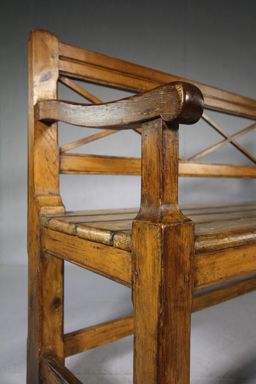 English 19th century antique painted pine bench seat miles griffiths antiques