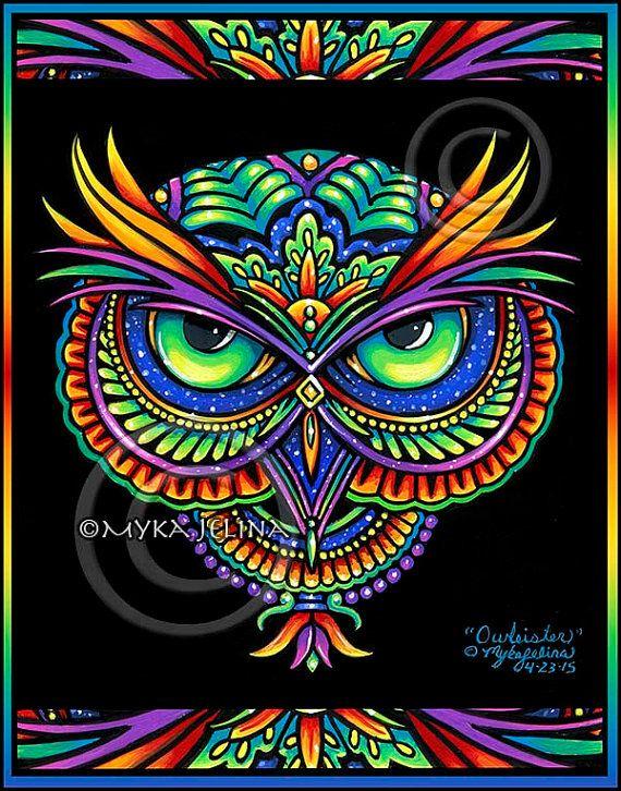 Psychedelic Rainbow Owl Trippy Hippie Owleister CANVAS BIG Prints ...