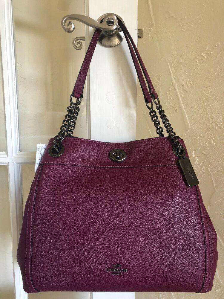Coach 36855 Pebble Leather Turnlock Edie Shoulder Bag Dark Berry ... 0ca1a70f69429
