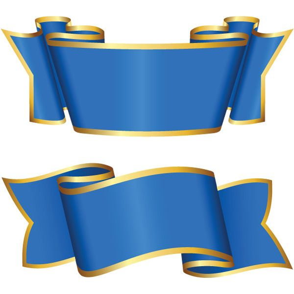 2 Gold Trimmed Blue Ribbon Banners Set - http://www
