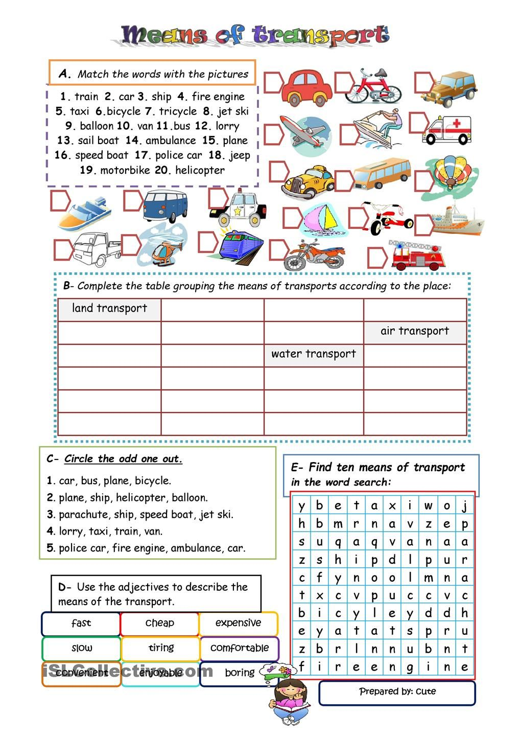 means of transport | Teaching | Pinterest | English, Worksheets and ...