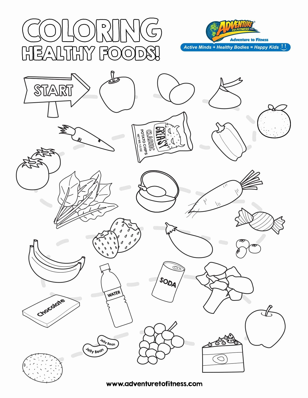 Coloring Pages For Kids Showing Healthy Food Vs Non