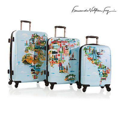 Heys world map luggage set 3pc fernando volken togni expandable fvt heys world map luggage set 3pc fernando volken togni expandable fvt spinners tsa gumiabroncs Image collections