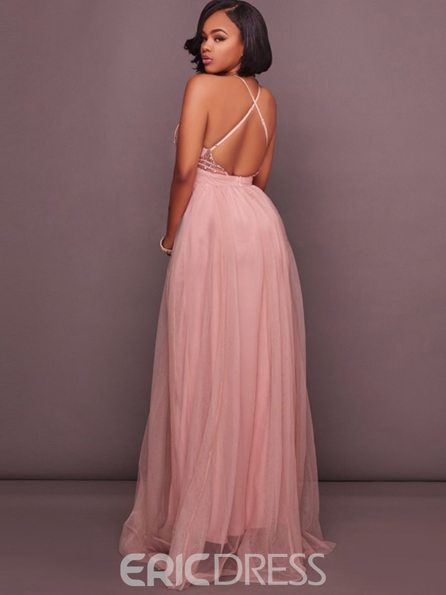 Backless Sequin Expansion Maxi Dress