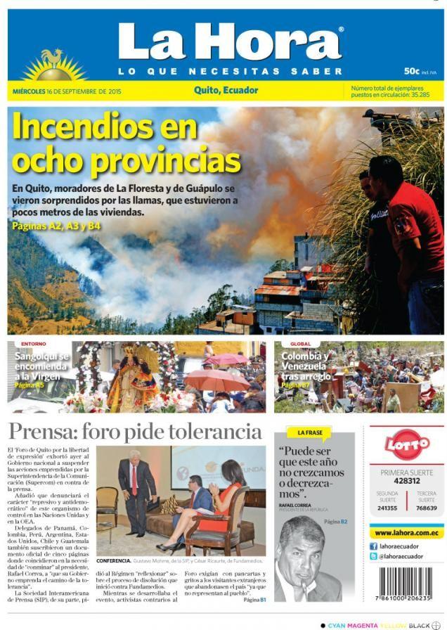 """Saludamos a todos nuestros seguidores presentando nuestra portada para hoy miércoles 16 de septiembre de 2105 Tema destacado: """"Incendios en ocho provincias"""" ---> http://bit.ly/1NwLI2R"""
