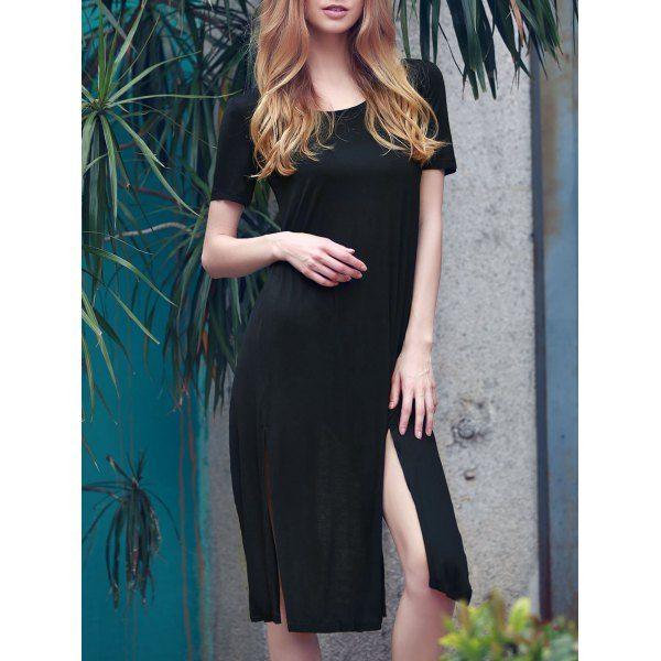 Scoop Neck Short Sleeve High Slit T-Shirt Dress For Women