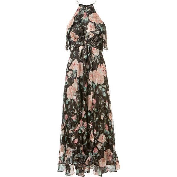 Zimmermann Long Floral-Print Chiffon Silk Dress (2.475 BRL) ❤ liked on Polyvore featuring dresses, embellished dress, floral print chiffon dress, slit dress, silk chiffon dress and long brown dress