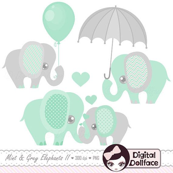 Superior Baby Elephant Decor Clipart / Printable Elephant Baby Shower Clip Art, Mint  And Grey