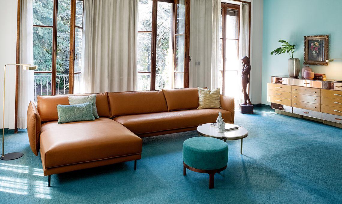 Divano In Pelle Marrone.Divano Pelle Marrone Sectional Couch Lounge Room Furniture