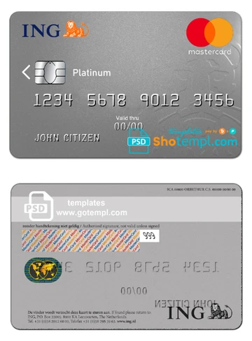 Netherlands Ing Bank Mastercard Template In Psd Format Fully Editable Shotempl Com Templates Templates Card Templates Document Templates