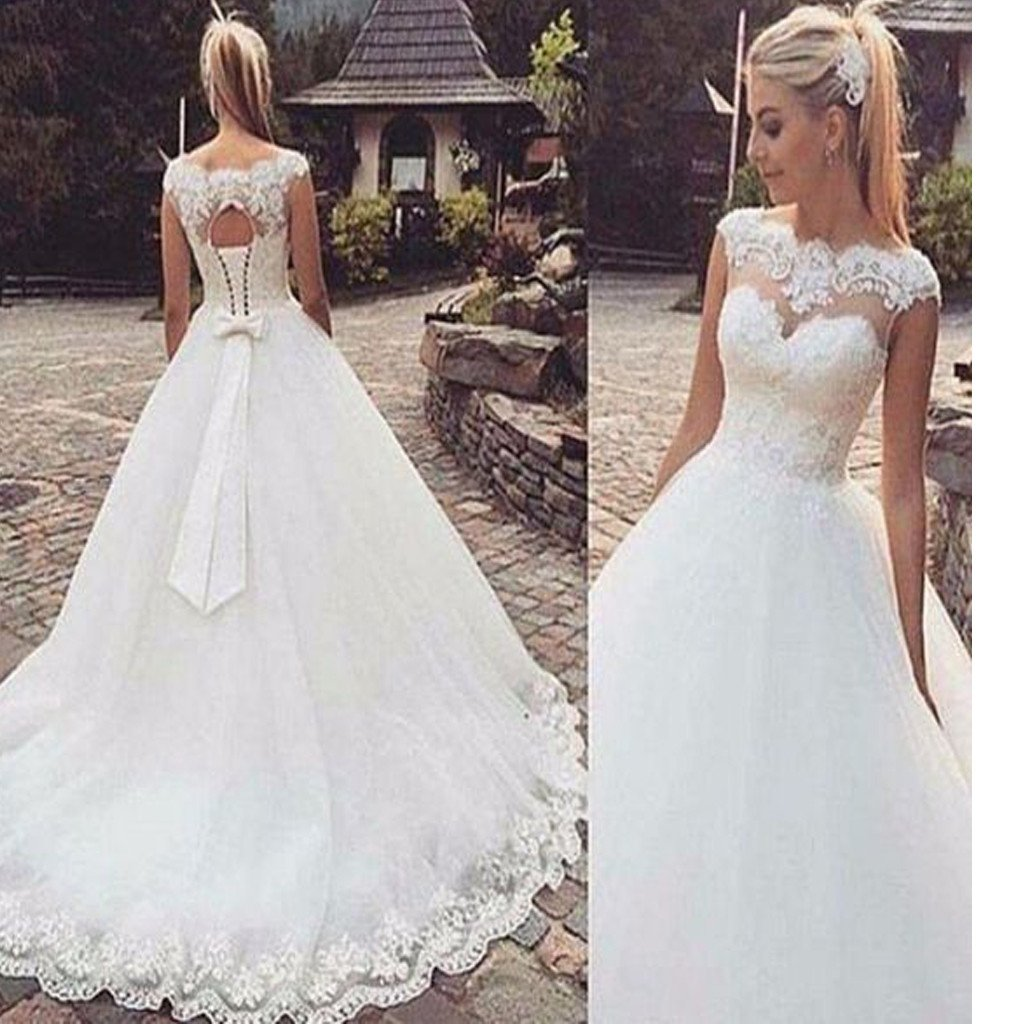 Ivory Lace Bodice Ball Gown Wedding Dress With Sheer Long: Sweetheart Cap Sleeve Clairvoyant Outfit Lace Elegant Bow
