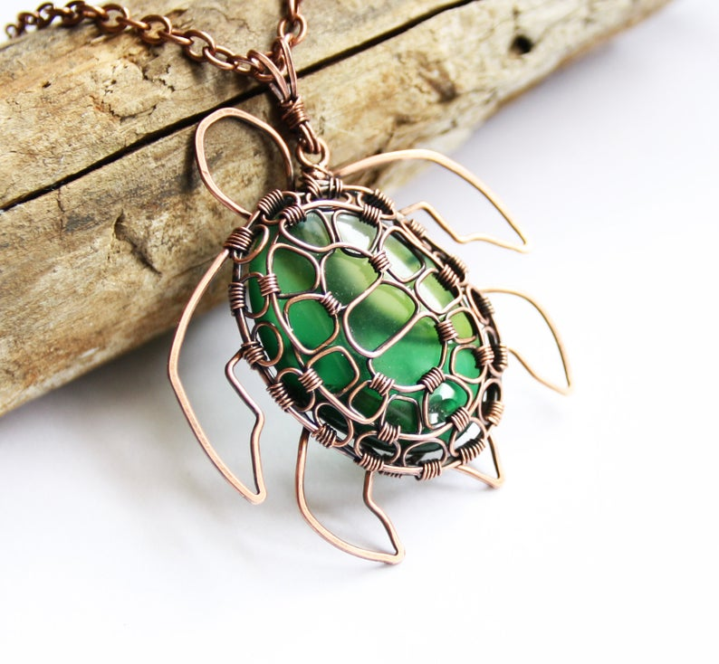 Photo of Sea Turtle Pendant Necklace – Green Glass Oval Cabochon and Antiqued Copper Wire Wrapped – Unique Handmade Ocean Sea Animal Lover Jewelry