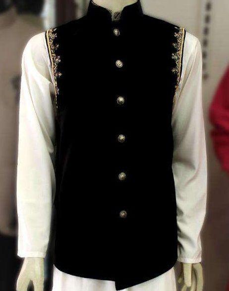 Black Velvet Two Side Handwork Waistcoat