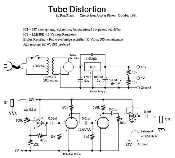 tube distortion schematic valve projects diy guitar pedal guitar e guitar pedals. Black Bedroom Furniture Sets. Home Design Ideas
