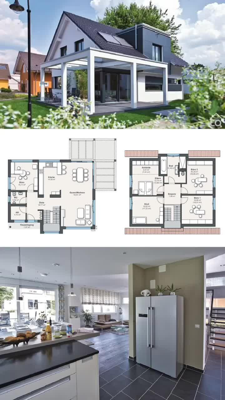 Modernes Einfamilienhaus mit Satteldach Pergola & Dacherker bauen 6 Zimmer Haus Grundriss 180 qm
