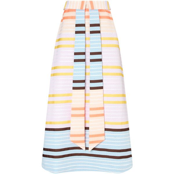 Suno Neon Stripe Faux Tie Skirt ($330) ❤ liked on Polyvore featuring skirts, patterned skirts, a line skirt, striped skirt, neon pink skirt and faux skirt