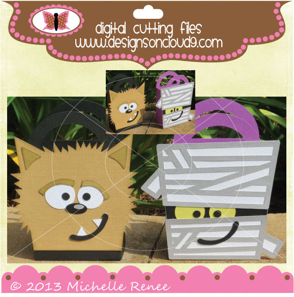 Monster Treat Bags set 2 SVG and cutting files