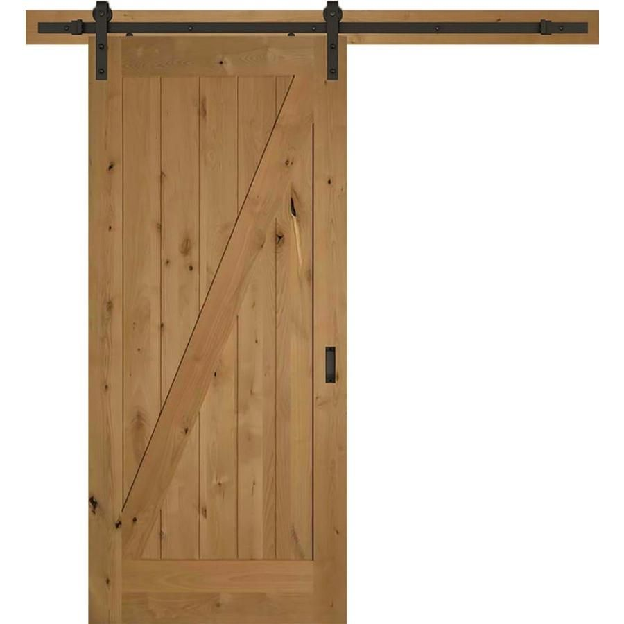 American Building Supply Z Barn Door 36 In X 84 In Clear Z Frame Stained Knotty Alder Wood Single Barn Door Hardware Included Lowes Com Interior Barn Doors Barn Door Doors And Hardware