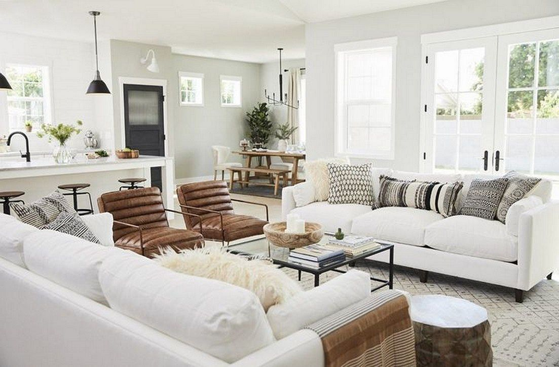 15 Gorgeous Open Plan Living Room Decoration That You Need To Copy Right Now Modern Farmhouse Living Room Livingroom Layout Farm House Living Room Decoration house living room