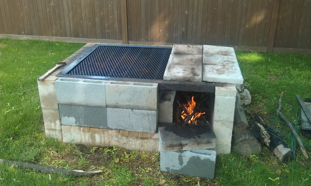 Fence made of cinder blocks and posts less than 250 to for Easy diy fire pit with grill