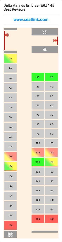 Delta Airlines Embraer ERJ 145 (ERJ) Seat Map | Airline Seating ...