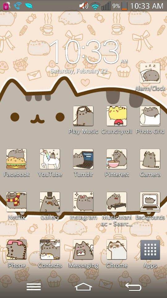 Pusheen phone theme and app icons Phone themes, Chrome