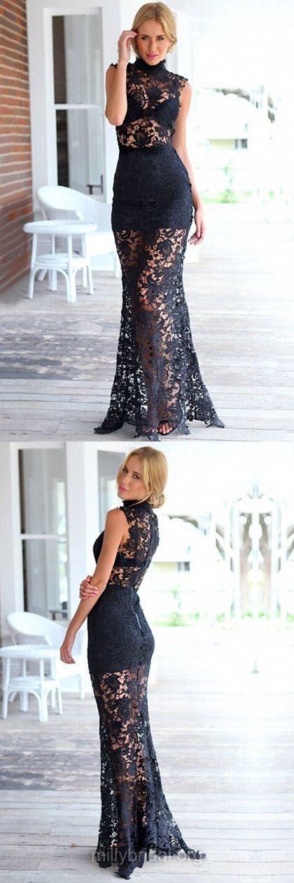 Black Prom Dresses,Trumpet/Mermaid Formal Dresses,High Neck Lace ...