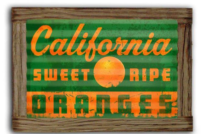 e40b6d555bd1 Vintage and Retro Tin Signs - JackandFriends.com - California Oranges  Corrugated Rustic Metal and