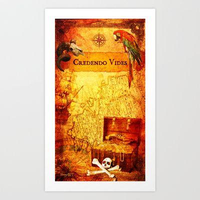 Credendo Vides Old Pirate Treasure Map Art Design by Donika Nikova - ShaynART Art Print by Donika Nikova - $17.68  www.shaynart.com  #print #art #painting # interior #design #decor #wallart #fineart #shaynart #pirates #treasure #ship #game #children #costume #map #island #secret #compass #old #gold #book #adventure #poster #graphic #iPhone #mug #laptop #pillow #bag