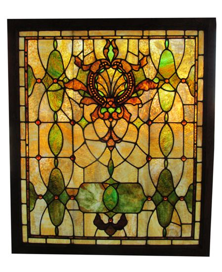 Large Stained Glass Window.Large Stained Glass Window With 50 Amber Jewels Wooden