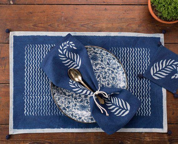 Placemat + Napkin + Coaster (Set Of 6) | Table Linen | Block Print