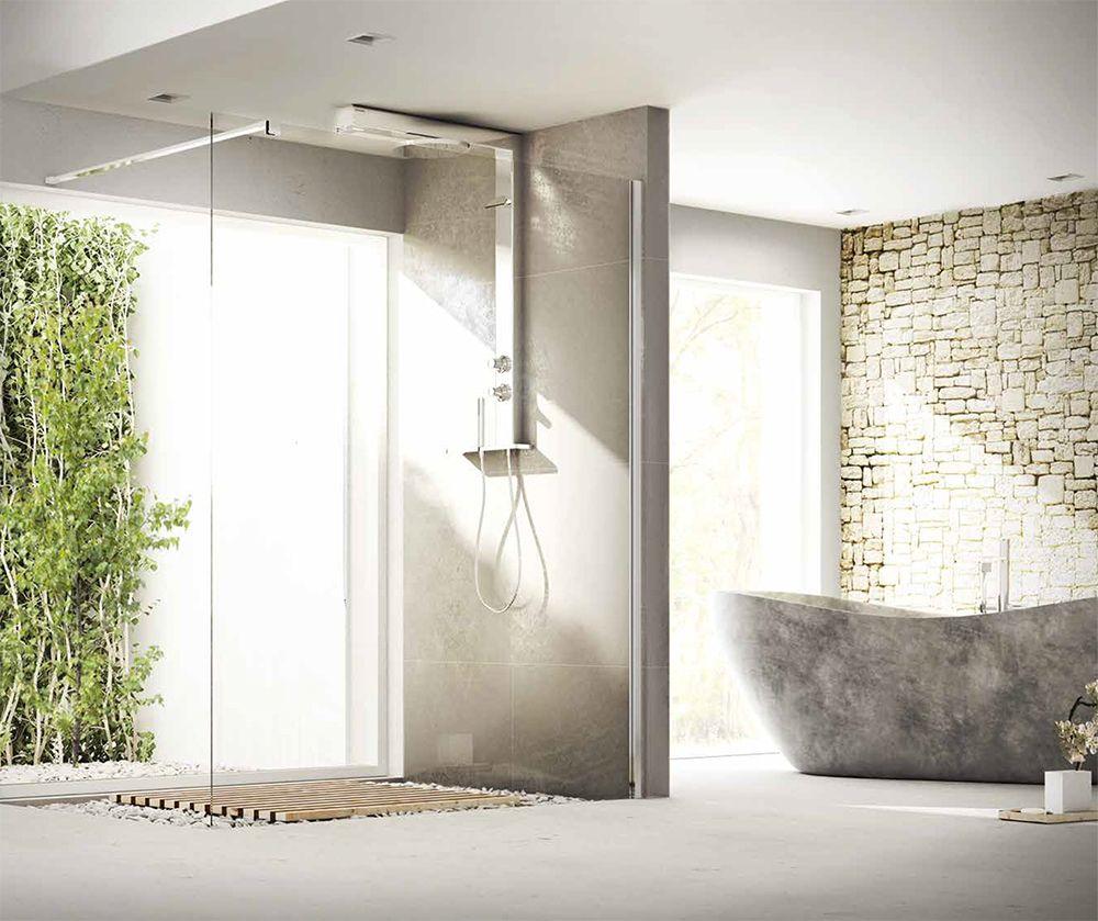 Box doccia aperto 1 parete walkin con profilo a muro e