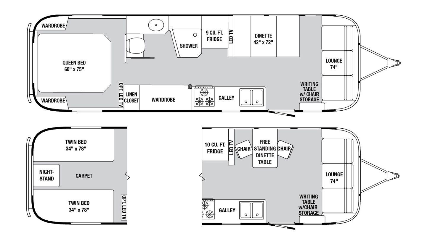 Airstream Classic Floorplans Airstream interior, Floor