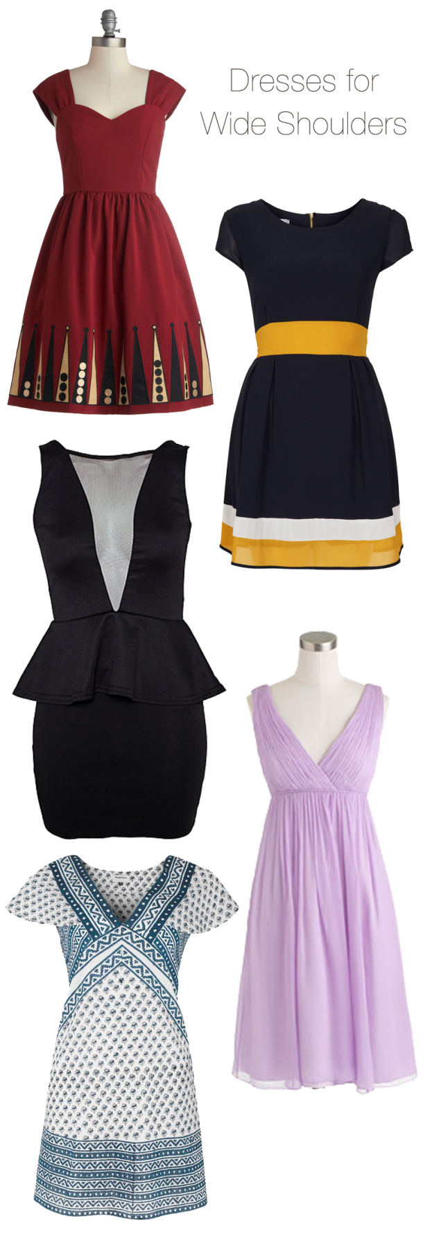 How to: Dress for Wide Shoulders  Dresses for broad shoulders