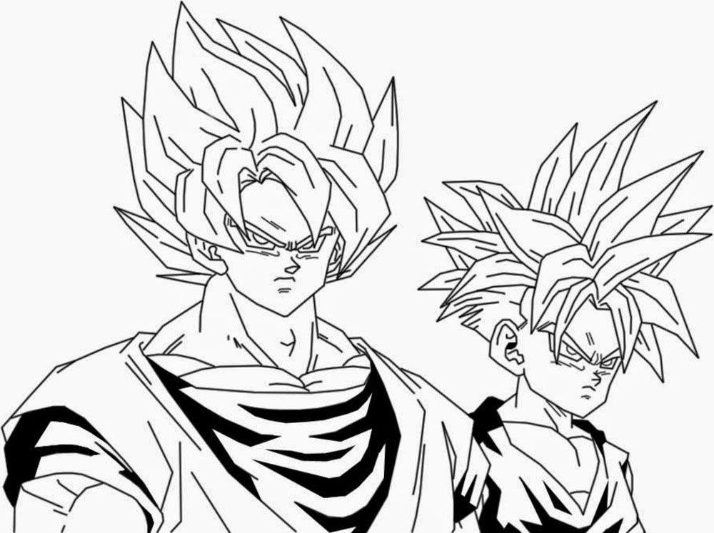 Vegeta Para Colorear Para Pin Para A On Para Dragon Ball Z: Dibujo De Goku Y Gohan Para Iluminar Y Dibujar