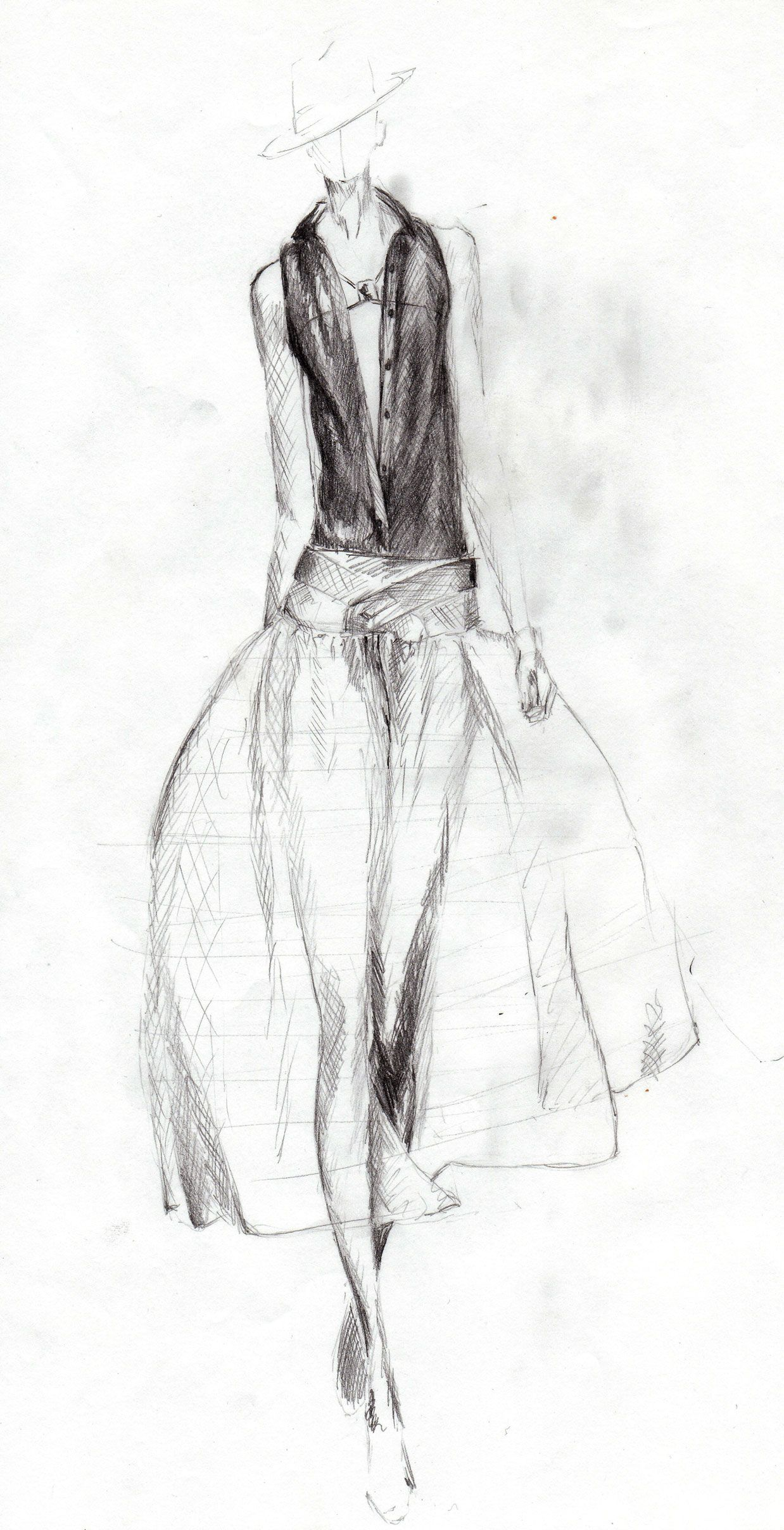 Pencil drawing of catwalk model in see through dress christina voss
