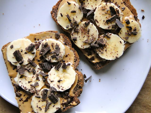 Peanut butter & banana with dark chocolate. Healthy! :D