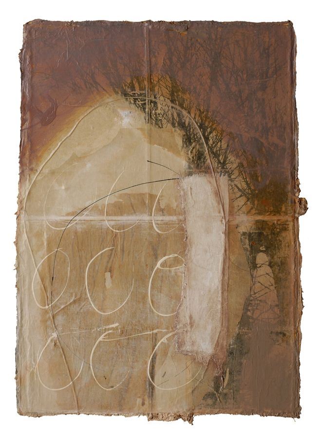 "Fran Skiles: Tree Forms 50""x37"". Rigid, yet flexible layered constructions of paper, cloth, paint, gesso, paint, ink and pencil held together with stitching, embroidery, and medium."