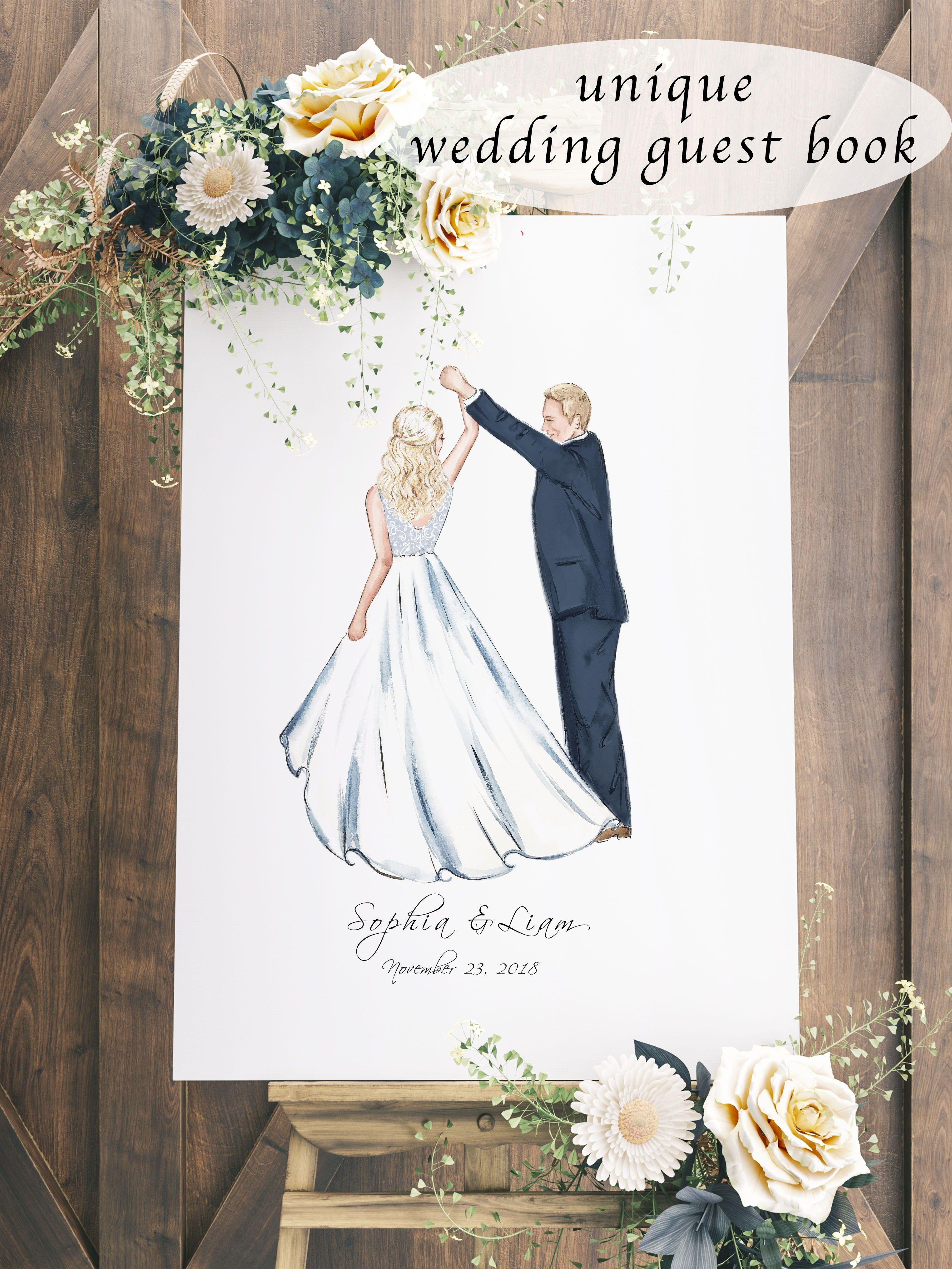 Wedding Custom Portrait Wedding Guest Book Alternative Unique Wedding Guestbook Alternative Wedding Guestbook Canvas Wedding Guest Book