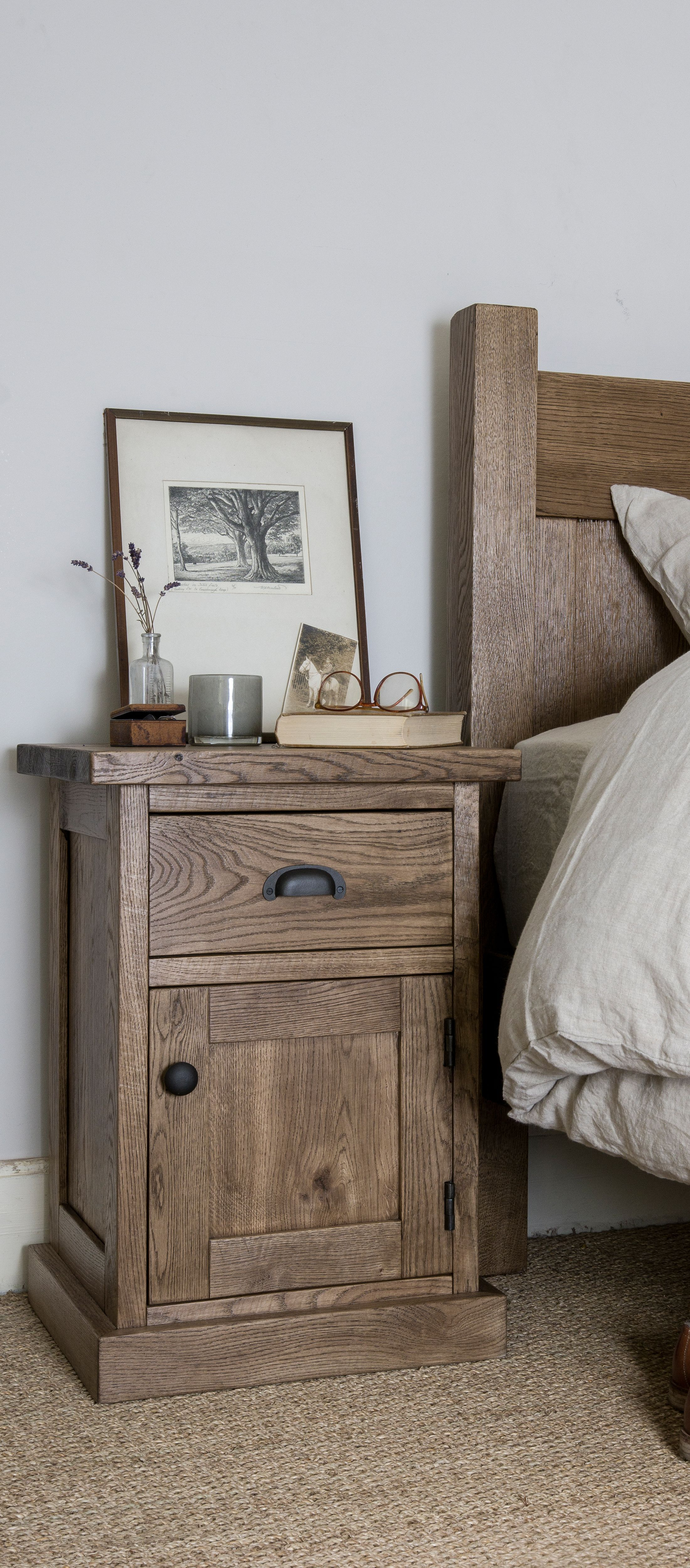 Alderman Aged Oak Pot Cupboard Indigo Furniture Bedroom