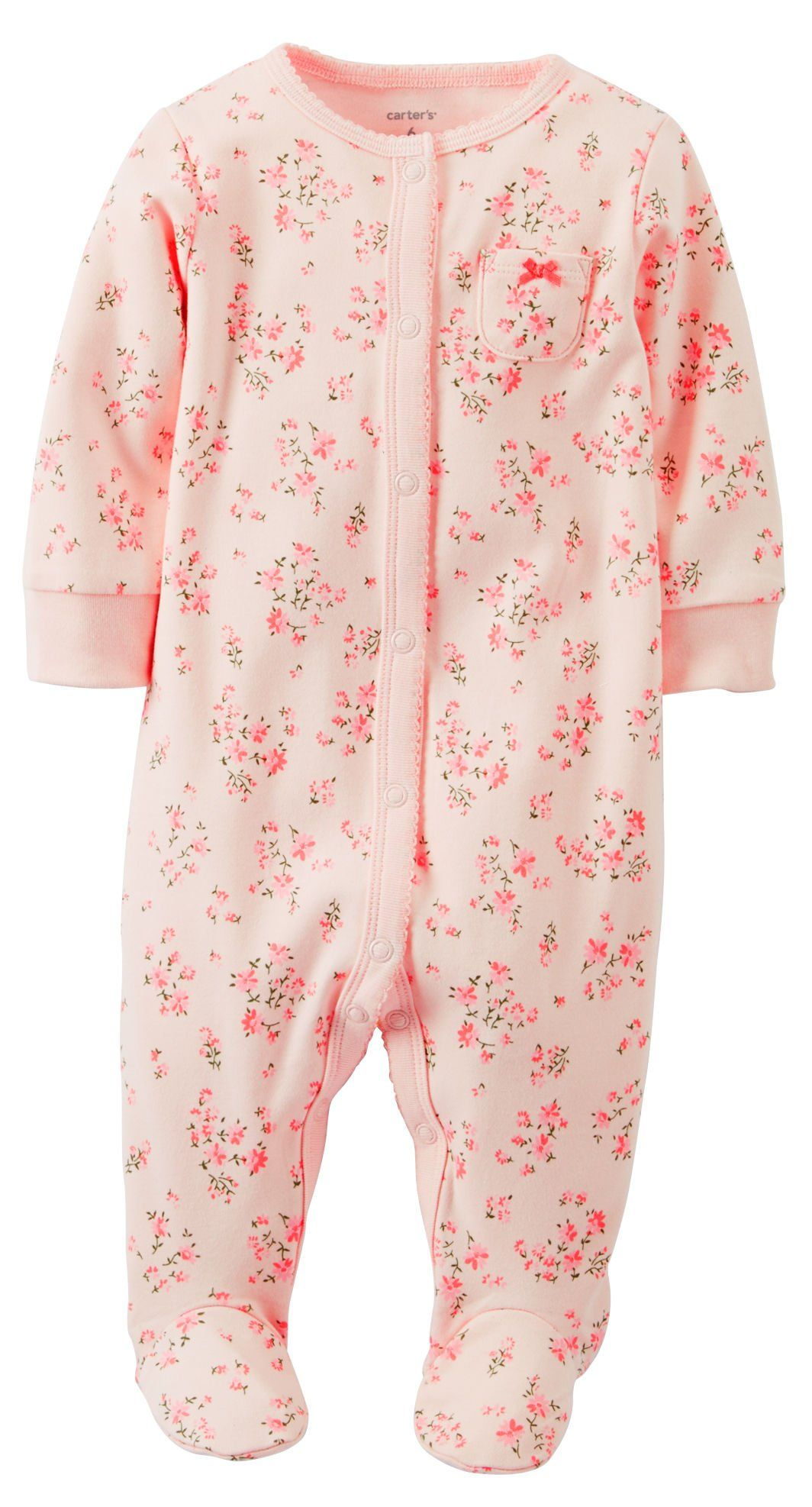 75a1ebe2c  15- Carter s Baby Girls  Print Terry Footie (Baby) - Pink - 3 or 6 ...