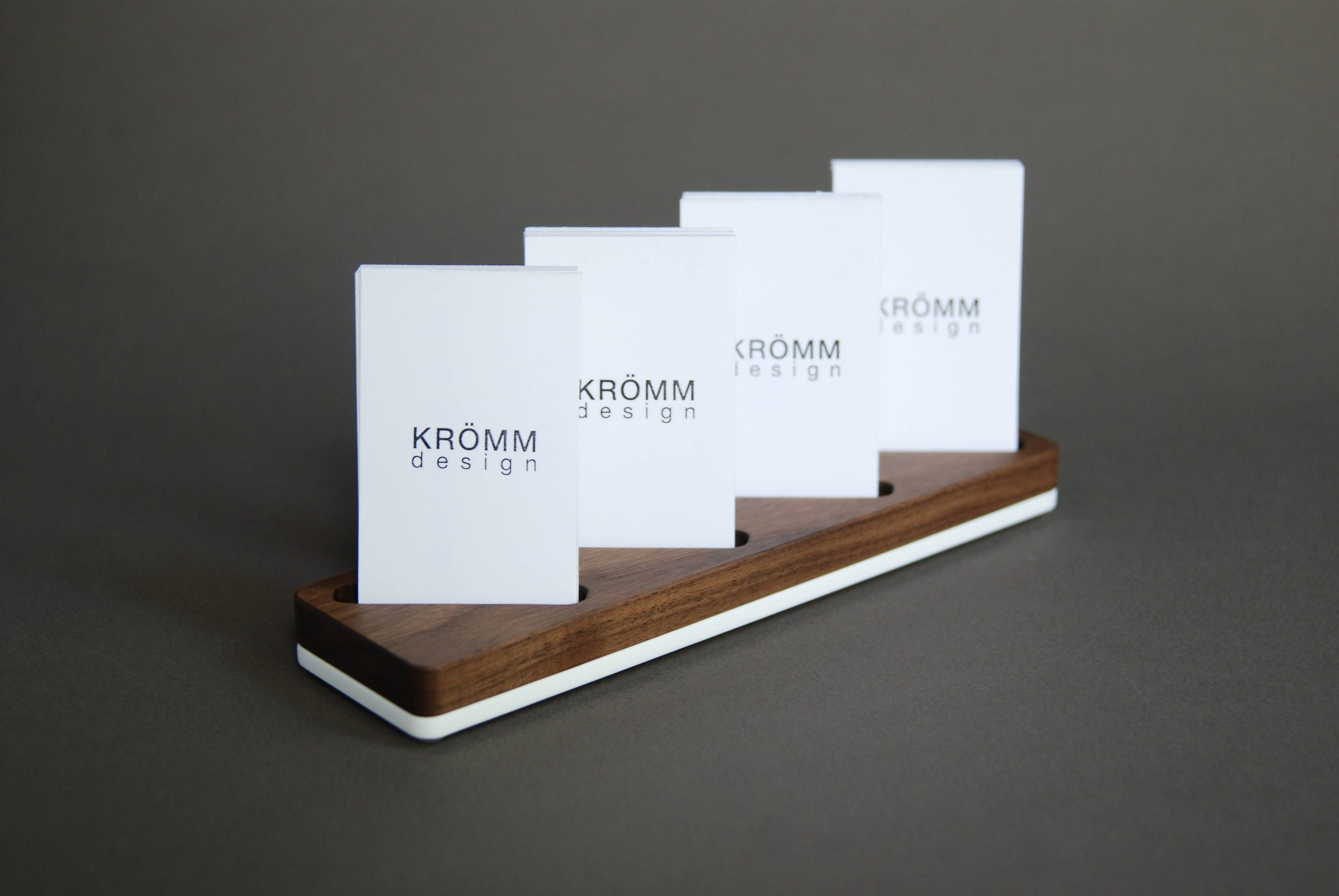 Wood Card Stand For Four Vertical Business Cards Walnut Wood And Acrylic Card Holder Wooden Vertical M Wood Card Business Card Stand Business Card Displays