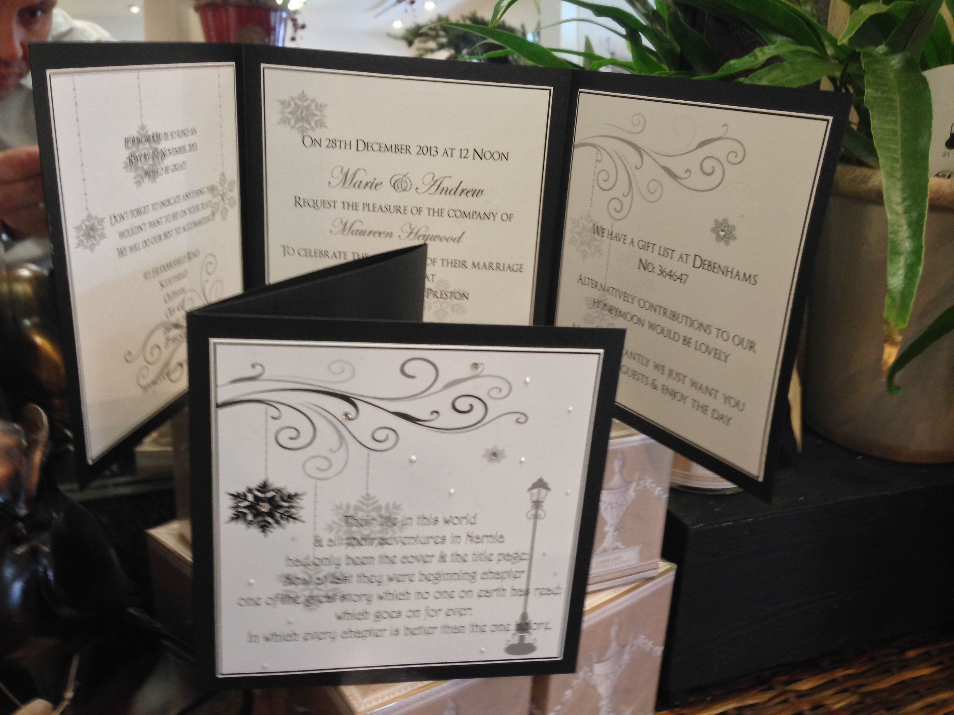 Winter wonderland narnia was the theme for these wedding invitations ...