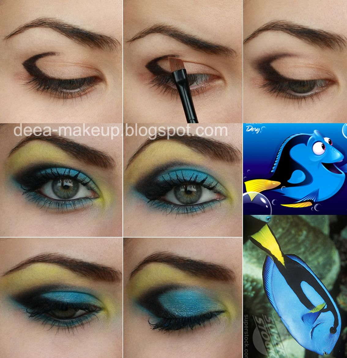 Dory Finding Nemo Inspired Make-up  http://deea-makeup.blogspot.ro/2011/10/dory-finding-nemo-pencil-technique.html