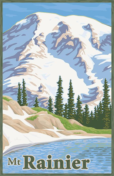 Mt Rainier Travel Poster Nirvana Vintage Travel Posters