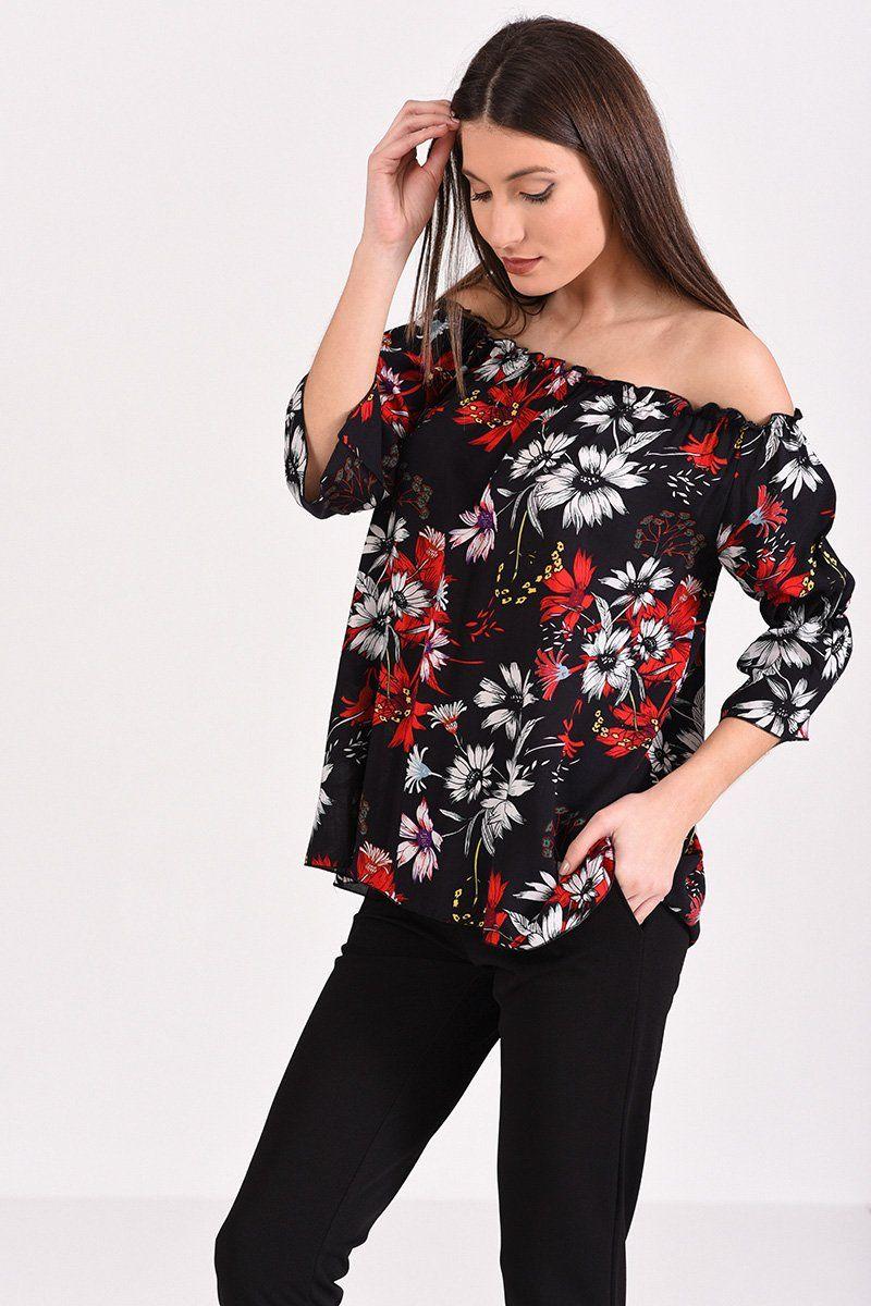 ae8e62be9505 Μπλούζα με έξω ώμους φλοράλ σε μαύρο χρώμα
